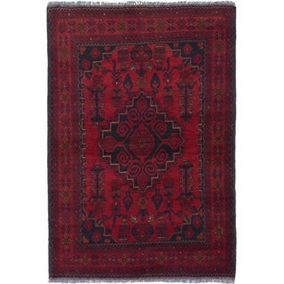 ECARPETGALLERY  Hand-knotted Finest Khal Mohammadi Red Wool Rug - 3'5 x 5'2