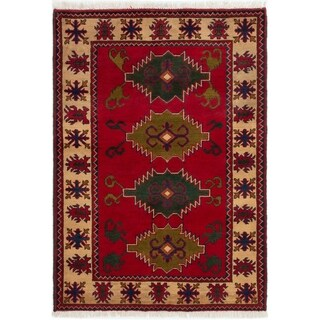 ECARPETGALLERY  Hand-knotted Finest Kargahi Red Wool Rug - 3'4 x 4'7