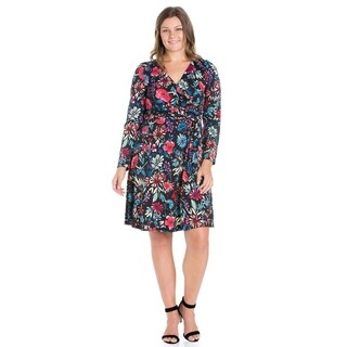 24/7 Comfort Apparel Long Sleeve Knee Length Plus Size Dress