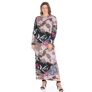 24/7 Comfort Apparel FPlus Size Maxi Dress With Side Slit