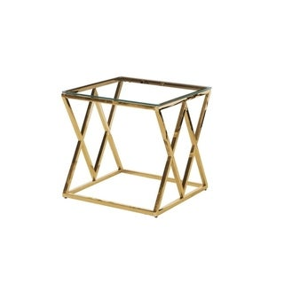 Best Master Furniture Clear Glass Gold Square End Table