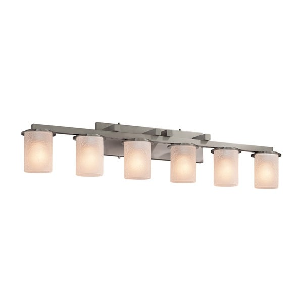Justice Design Group Fusion Dakota 6 Light Brushed Nickel Bath Bar Frosted Le Cylinder