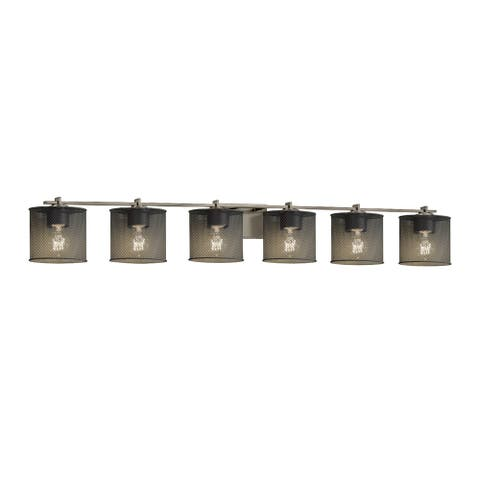 Justice Design Wire Mesh Era 6-light Brushed Nickel Bath Bar, Wire Mesh Oval Shade
