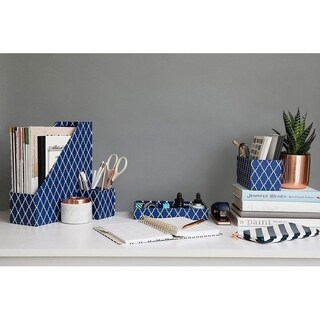 Blu Monaco 4 Piece Blue Paper Desk Organizer Set