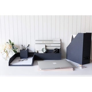 Blu Monaco 4 Piece Dark Gray Paper Desk Organizer Set