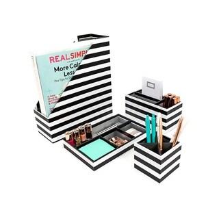 Blu Monaco 4 Piece Black and White Paper Desk Organizer Set
