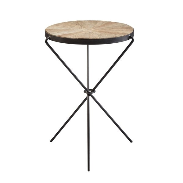 Sonya Elm and Iron Tripod End Table