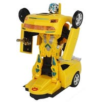 Bump and Go Battery Operated Transforming Action Combat Robot Yellow Chevy Coupe Sports Car
