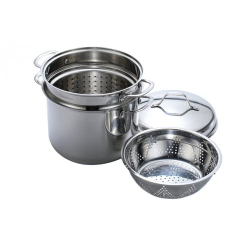 Momscook Classic Stainless steel 4-Piece 8-Quart Pasta/Steamer Set