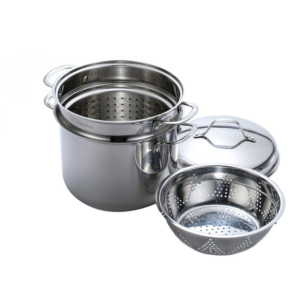 Momscook Classic Stainless Steel 4 Piece 8 Quart Pasta Steamer Set