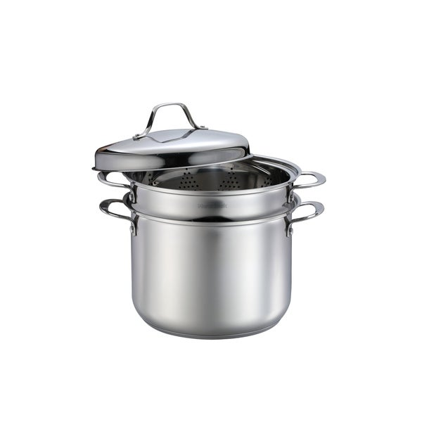Stock Pot 8 Quart Pasta Cooker With Strainer 4pc Set Stainless Steel Cookware