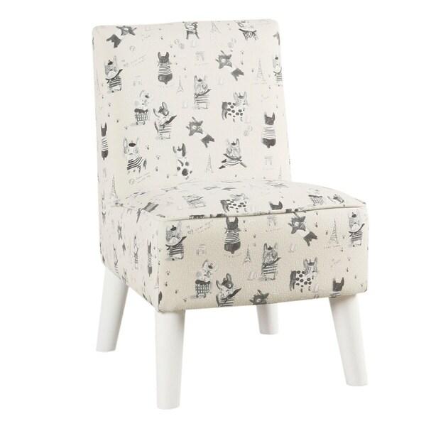 HomePop Kids Modern Slipper Chair- Stain Resistant French Bulldog Print