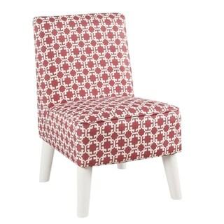 HomePop Kids Modern Slipper Chair- Pink and White Lattice