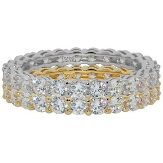 14k Yellow or White Gold Round-cut Cubic Zirconia Prong-set Eternity Ring