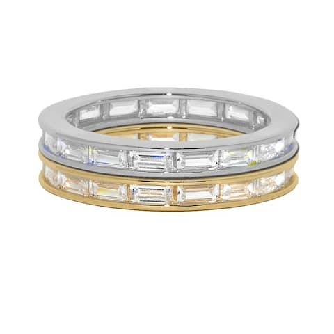 14k Yellow or White Gold Baguette-cut Cubic Zirconia Eternity Ring