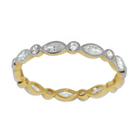 14k Two-tone Gold Round and Marquise-cut Cubic Zirconia Eternity Band