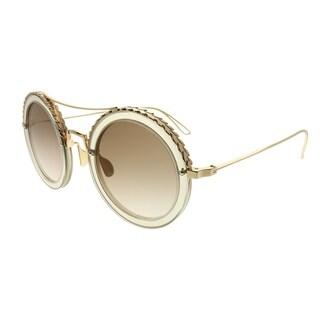 Elie Saab Round ES 001/S 01Q_VU Women Gold Brown Frame Gold Mirror Gradient Zeiss Lens Sunglasses
