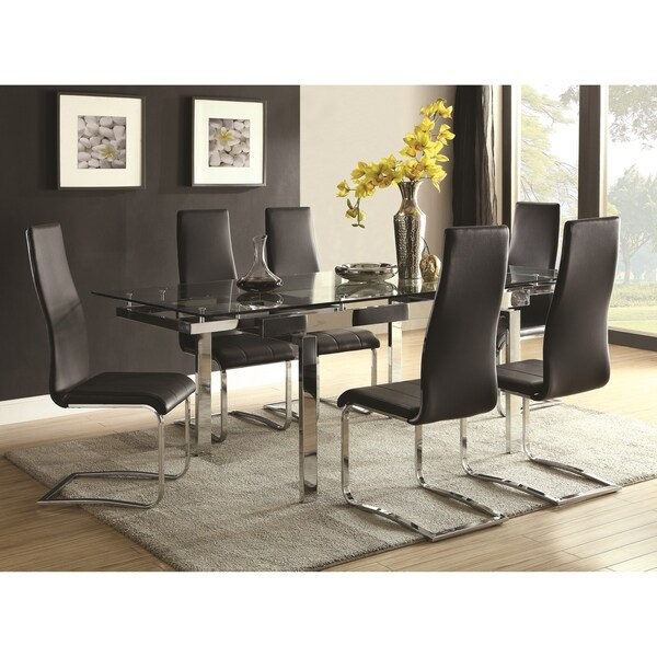 Contemporary Modern Design Glass Top Dining Table with Optional Black Chairs