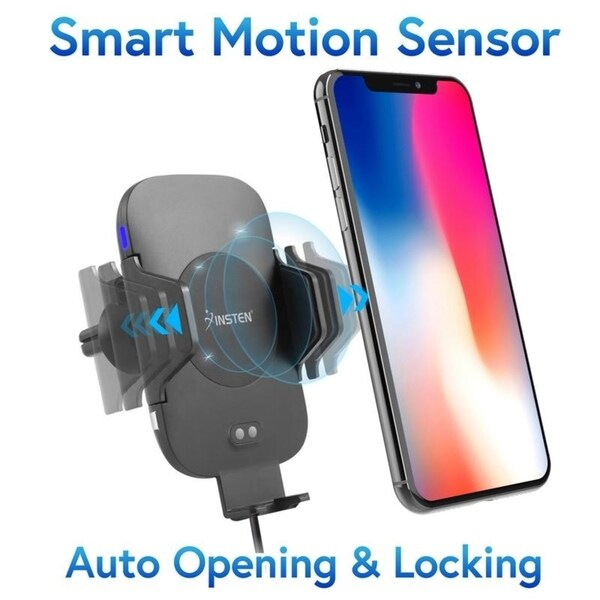 Insten Auto Opening Smart Motion Sensor Wireless Charging Car Mount Quick Charge Phone Holder/USB 3.0 Car Charger/Suction Arm