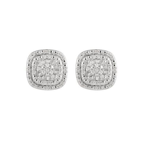 Divina Sterling Silver 1/6ct TDW Diamond Stud Earrings