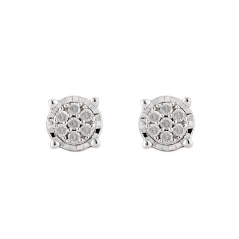 Divina Sterling Silver 1/10ct TDW Diamond Stud Earrings