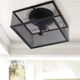 "Safavieh Lighting Hagan Flush Mount - Black - 11.875"" x 11.875"" x 6.5"""
