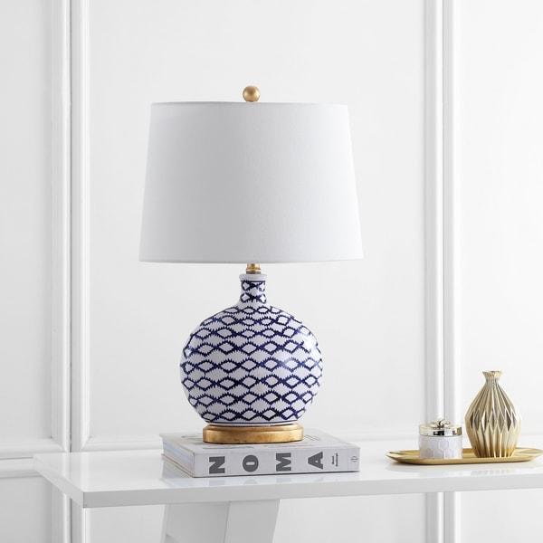 "Safavieh Lighting Makenna Table Lamp 25 Inch - White / Blue - 16"" x 11"" x 25"""
