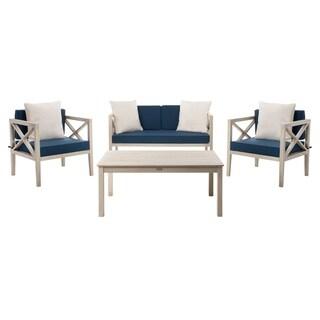 Safavieh Outdoor Living Nunzio 4 Piece Set- White / Navy
