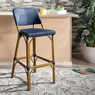 "Safavieh Outdoor Living Deltana (Indoor/Outdoor) Bar Stool Beige/Blue - 17"" x 20"" x 41.3"""