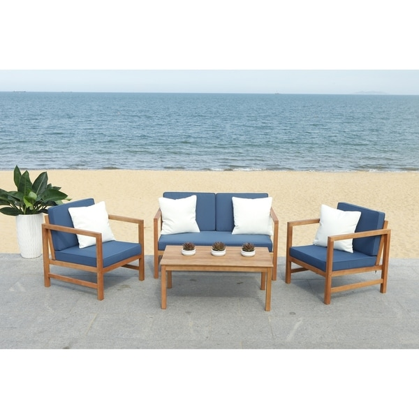 Shop Safavieh Outdoor Living Montez 4 Piece Set- Natural ... on Safavieh Outdoor Living Montez 4 Piece Set id=69307