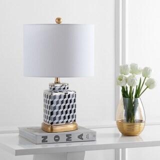 "Safavieh Lighting Alisha Table Lamp 21.5 Inch - Black / White - 13"" x 13"" x 21.5"""