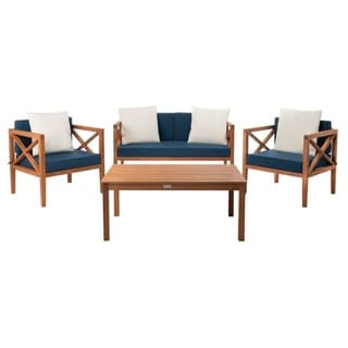 Shop Safavieh Outdoor Living Cushioned Brown Acacia Wood 4 ... on Safavieh Outdoor Living Fontana id=86919