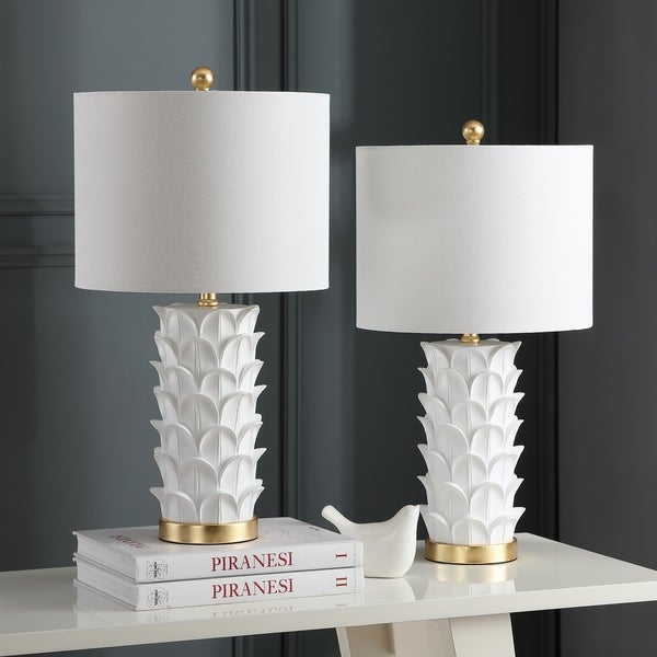 Safavieh Lighting Nico Table Lamp 25 Inch - White / Gold (Set of 2)