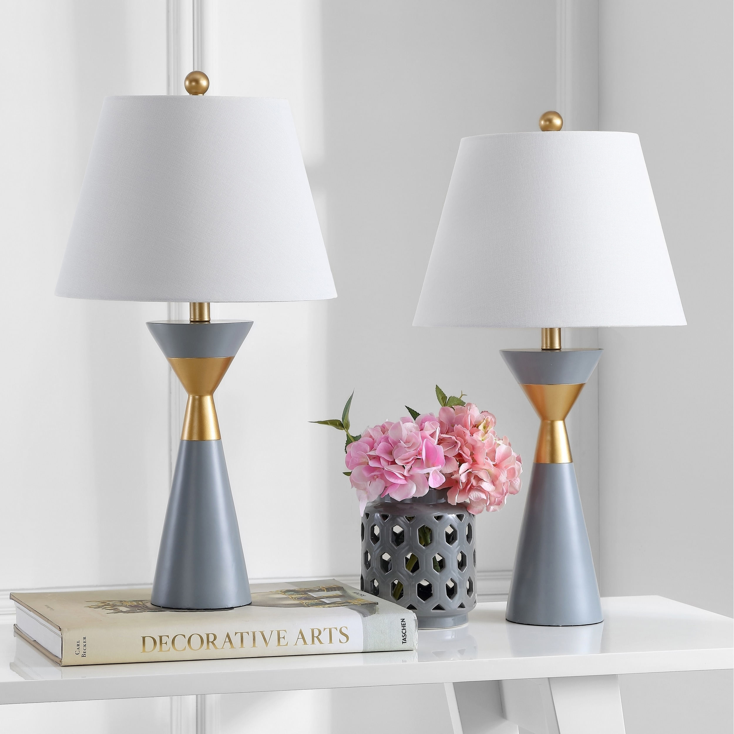 Shop safavieh lighting 27 inch lian gold grey led table lamp set of 2 on sale free shipping today overstock 23614798
