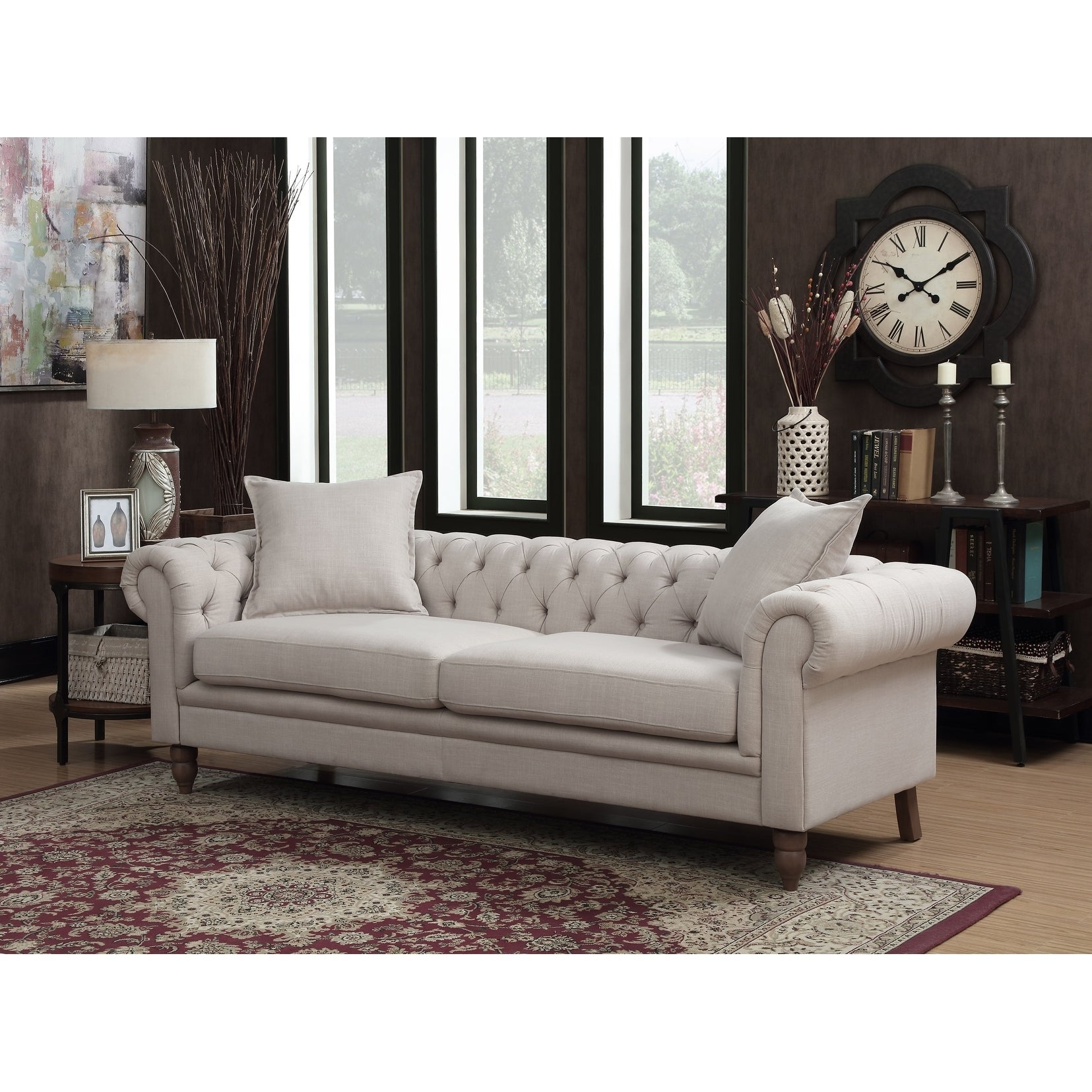 Juliet Contemporary Grey Upholstered Tufted Living Room Chesterfield Sofa On Sale Overstock 23614806
