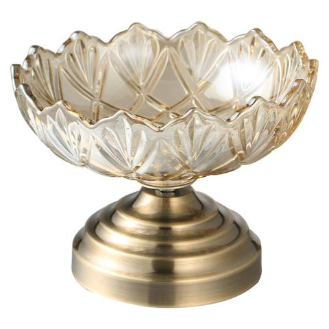Matashi Champagne Colored Vintage High Quality Glass Candy Dish (Small) Elegant Snack Bowl, Strong Aluminum Base