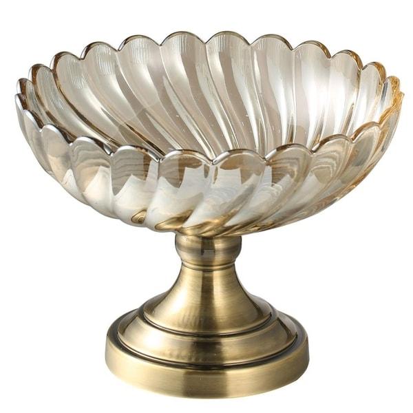 Matashi Champagne Colored Vintage High Quality Glass Candy Dish (Large) Elegant Snack Bowl, Strong Aluminum Base