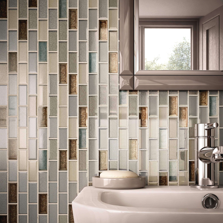 Crystal Shores 2X1 BrickJoint Mosaic Saphire Lagoon - 12.75 x 11.75