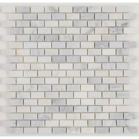 Natural Stone Tile Mosaic Linear Random Glass/Stone/LVT Tranquil Snow - 11.625 x 13.75 - 11.625 x 13.75