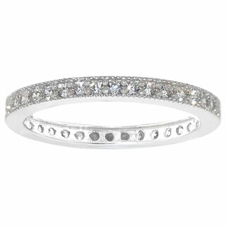 14k White Gold Pave-set Cubic Zirconia Milgrain Eternity Ring