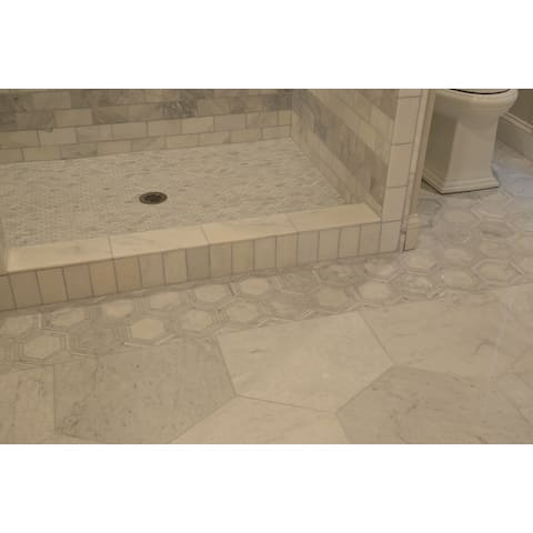"""Natural Stone Limestone 6"""" HEX Mosaic Chenille White Black - 11.75 x 14.5 - 11.75 x 14.5"""