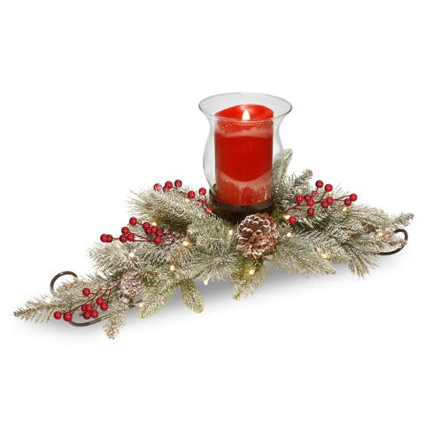 """National Tree Company 30"""" Snowy Bristle Berry Candle Holder Centerpiece with Battery Operated LED Lights"""