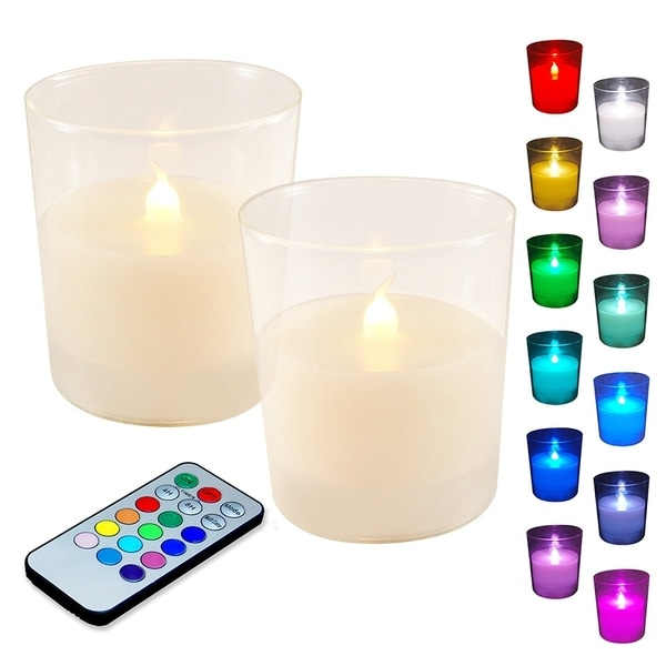 High Quality Multi Function Decorative Elegant Style Led: Shop Multi-Color LED Candles In Glass Holders & Remote