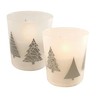 Silver Tree LED Candles in Glass Holders - Set of 2
