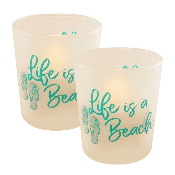 Life is a Beach LED Candles in Glass Holders - Set of 2