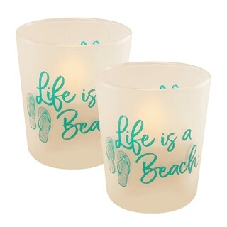 Turquoise Beach LED Candles in Glass Holders - Set of 2