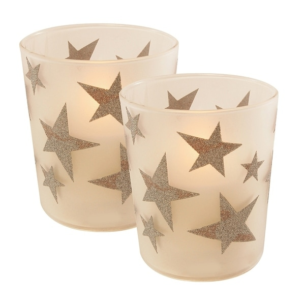 Silver Star LED Candles in Glass Holders - Set of 2