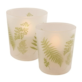 Green Fern LED Candles in Glass Holders - Set of 2