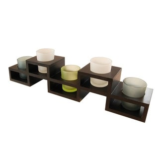Black Wooden Centerpiece with Five Glass Votive Holders
