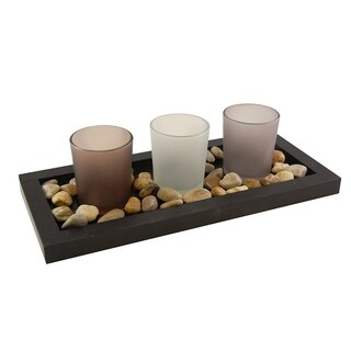 Wooden Pebble Tray with 3 Glass Candle Holders - N/A